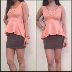 """NWT Coral Peplum Top with Statement Necklace ➖CONDITION: NWT ➖SIZE: Small (see measurements) ➖STYLE: A beautiful coral peplum top with a detachable statement necklace. The back has a keyhole design. The hemline goes from 22.5"""" to 26"""" with the back being longer.   ➖MEASUREMENTS         ➖SHOULDER: 11.5""""        ➖BUST: 13.75""""        ➖WAIST: 12""""         ➖LENGTH: front : 22.5"""" to 26"""" at the back         ➖THE LENGTH OF THR NECKLACE AT THE VERY MIDDLE : 10.5""""        ➖DEPTH OF KEYHOLE IN THE BACK…"""