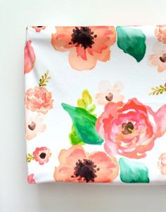 Changing Pad Cover in Floral Dreams, Watercolor Flowers in Pink, Coral and Blush by ByGeorgeBabyBoutique on Etsy https://www.etsy.com/au/listing/278746576/changing-pad-cover-in-floral-dreams