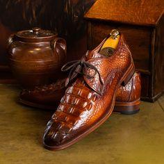 Paul Parkman Light Brown Crocodile Embossed Calfskin Derby Shoes (ID Men's Shoes, Shoe Boots, Shoes Men, Gentleman Shoes, Derby Shoes, Luxury Shoes, Stylish Men, Loafer, Oxford Shoes