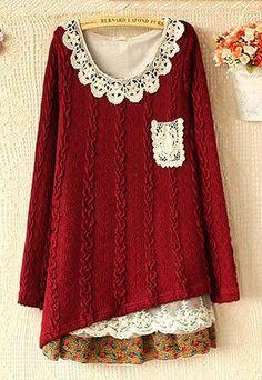 lulula-fashion shopping mall — [ghyxh3600824]Sweet Cute Lace Chiffon Spliced Knit Dress