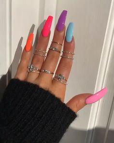 pretty multicolored nail art designs for spring and summer .- pretty multicolored nail art designs for spring and summer 2019 rainbow nails, colorful nail art design, french manicure, multicolored nail art designs - Summer Acrylic Nails, Best Acrylic Nails, Acrylic Art, Acrylic Nail Designs For Summer, Summer Nail Polish, Bright Summer Nails, Bright Nails, Summery Nails, Orange Acrylic Nails