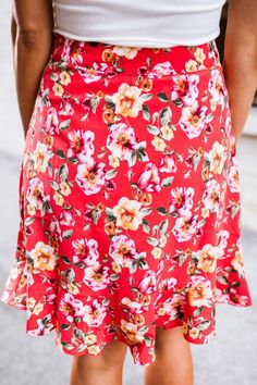 Red Floral Ruffle Skirt - Dottie Couture Boutique