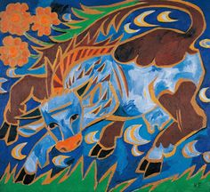 Natalia Gontscharowa | Die blaue Kuh -  The Blue Cow | um 1911, © Albertina, Wien