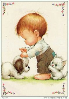 Ruth Morehead - Toddler Boy with Puppy & White Kitten
