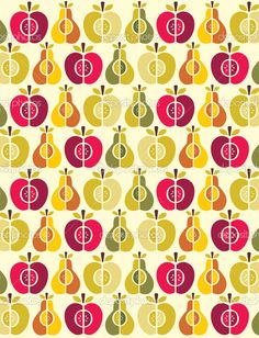 Vector seamless fruit pattern - apple and pear — Stock Vector #21941603