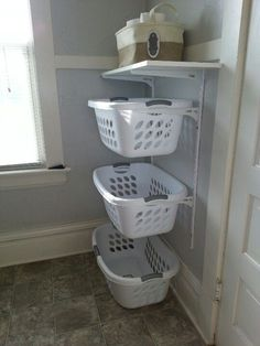 "Outstanding ""laundry room storage diy shelves"" information is offered on our site. Have a look and you wont be sorry you did. Laundry Basket Holder, Laundry Basket Dresser, Laundry Basket Storage, Laundry Room Organization, Storage Organization, Laundry Organizer, Organizing, Small Laundry Rooms, Laundry Room Design"