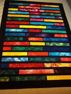 Lasagne Stained Glass Quilt..(You ought to see the pic in blues) You will not believe how incredibly easy this quilt is!