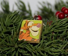 Holiday Winnie the Pooh Character image on scrabble tile pendant
