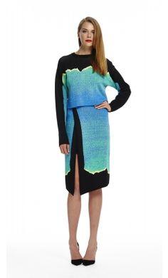 Natural Landscape Skirt & Heartline Jumper - Blue