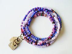 Twilight Sky Wrap Soft Beaded Bracelet in Blue by AtoriaStudios