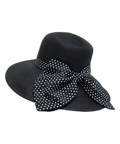 f7730d46bab Love this Boardwalk Style Black Polka Dot Bow Wide-Brim Sunhat by Boardwalk  Style on