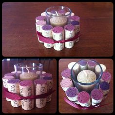 Wine cork votive holder - Hmmmm maybe for the tables with the giant wine glasses???