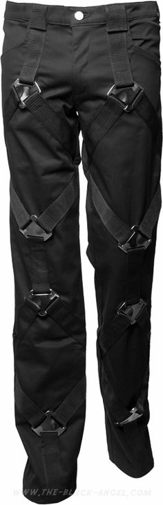 Men's pants with metallic buckles straps, from the Aderlass gothic clothing line. ( Get your goth on with gothic punk clothing - a favorite repin of www.vipfashionaustralia.com )