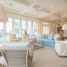 Beautiful colors in this living space. Blues & whites. Nautical Beach feel.