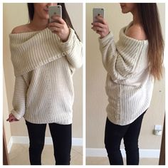"""NWT! Cream Loose Knit Sweater • Medium This listing is for one cream sweater in size M  Tunic sweater with turtleneck neckline that you can wear like a cowl-neck or simply folded down.   Loose knit design forms a flattering """"V"""" shape down the front  Fits TTS • I am 5'7  • Available in S, M, L Available in two colors in my closet - Cream &Mauve 65% cotton, 35% poly blend ✅ Discounts when Bundled with other items in my closet✅ No trades No pp Sweaters Cowl & Turtlenecks"""