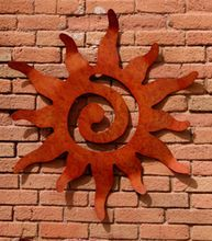 This metal sun wall hanging is cut from steel, then hand finished and hand shaped giving it a beautiful form. Handmade in Moab, UT by Earth Studio. It is our most popular metal art. Metal Sun Wall Art, Metal Wall Decor, Metal Walls, Sun Wall Decor, Metal Artwork, Metal Projects, Metal Crafts, Plasma Cutter Art, Metal Garden Art