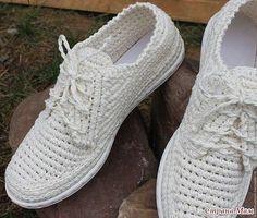 Стильная летняя обувь крючком из простых домашних тапочек.