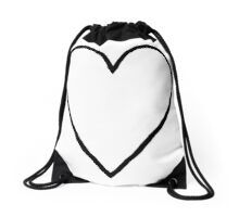 'Heart Outline' Drawstring Bag by ellenhenry Simple Line Drawings, Heart Outline, Long Hoodie, Sell Your Art, Zipper Pouch, Laptop Sleeves, Drawstring Backpack, Chiffon Tops, Duvet Covers