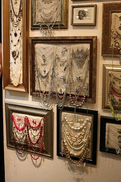 Cool jewelry organization/display idea. I also want all the jewelry in this pic!