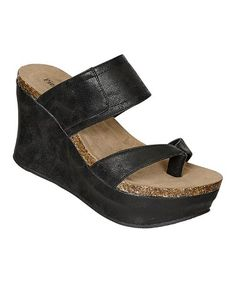 ef962f5df605 This Black Hester Thong Wedge Sandal is perfect!  zulilyfinds Wedge  Sandals