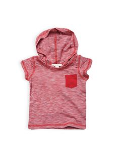 Pumpkin Patch - tops - short sleeve coverseam hooded top - W4BB11011 - ketchup - 0-3m to 12-18m