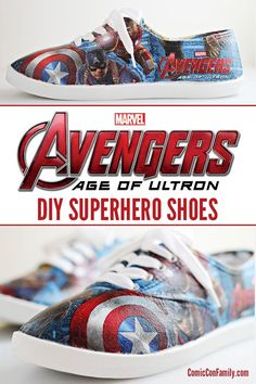DIY Superhero Shoes - Learn how to make your own Marvel Avengers: Age of Ultron shoes with party napkins and Mod Podge! #ad #avengersunite