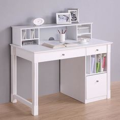 Unique White Computer Desk With Fantastic Bookshelf And Cool Shelves Also Beautiful Accessories Idea And Purple Wall Paint Color And Wooden Floor