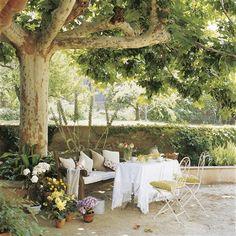 Mesa bajo árbol