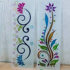 Glass Etching Designs, Glass Painting Designs, Paint Designs, Staircase Glass Design, Window Glass Design, Latest Window Designs, Etched Glass Door, Elephant Artwork, Front Door Design Wood