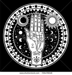 Vintage Fortune Teller Hand with Palmistry diagram. Sketch graphic illustration with mystic and occult hand drawn symbols. Halloween, astrological and esoteric concept. Free Vector Illustration, Graphic Illustration, Illustrations, Occult Symbols, Fortune Teller, Palmistry, Constellations, Mystic, Vintage