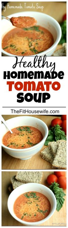 Healthy Homemade Tomato Soup. A perfect soup made with clean eating ingredients. Great for the cool winter months.