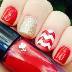 Patterned Red Nails