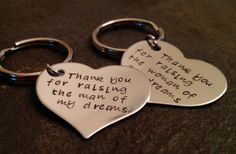 Set of two mother in law keychains thank you for raising the man of my dreams woman of my dreams wedding on Etsy, $25.00