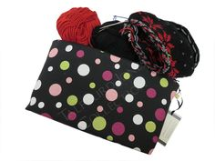 Pink, White, Black Large Knitting Project Pouch - Premier Prints Spirodots - Zipper Cosmetic Bag - Fabric Makeup Pouch - Handmade Mom Gift by TalfourdJones on Etsy