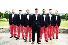 Olivia and Brian: A Southern Country Club Wedding  Navy blazers and coral pants for groomsmen  Nantucket Red pants
