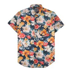 S/S Easy Shirt - Flower Painting Orange Button Up Shirt Mens, Short Sleeve Button Up, Button Down Shirts, Grunge Outfits, Trendy Outfits, Cool Outfits, Fashion Outfits, Simple Shirts, Nice Shirts