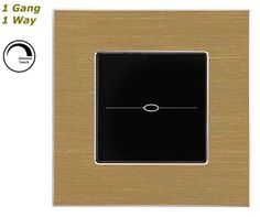 GLSTouch Designer Gold & Black Brushed Aluminium Dimmer Touch Light Switch (On/Off) 1 Gang 1 Way