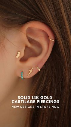 New solid gold cartilage piercings just landed. Perfect to stack along with dainty huggie hoops on multiple piercings. #cartilagepiercings #earstacks Barbell Piercing, Cartilage Piercings, Solid Gold, Stud Earrings, Jewelry, Accessories, Jewellery Making, Jewerly, Jewelery