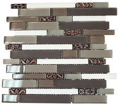 """Glossy Light and Dark Brown & White Porcelain with Metal Flower Modern Vintage Glass Mosaic Tiles Sheet Size: 13 3/8"""" x 11 3//4"""" x 3/8"""" Tile Size: Random Brick Type: Glass, Stone, Porcelain Finished: Glossy, Brushed, Honed HTCSJ2"""
