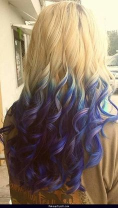 Blonde to Blue to Purple ombre!! Love it!