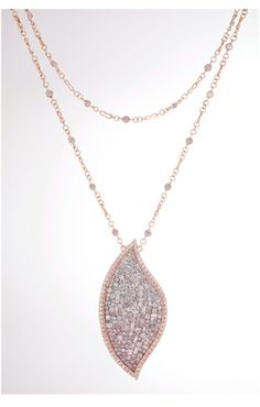 Plevé Diamonds necklace - Pink Ombre Flame necklace in 18k rose gold with 9.25 cts. t.w. natural-color pink and colorless diamonds, $30,000