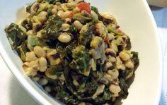 Μαυρομάτικα με σπανάκι Black Eyed Peas, Greek Recipes, Sprouts, Salads, Beans, Vegetables, Greek Beauty, Dressings, Food