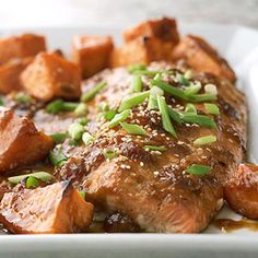 Asian Salmon with Oven-Roasted Sweet Potatoes Salmon, full of healthy omega-3 fatty acids, is a quick-cooking favorite. Sweet potatoes provide plenty of vitamins to this easy dinner.
