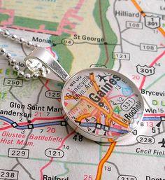 University of Florida vintage map necklace from DLK Designs