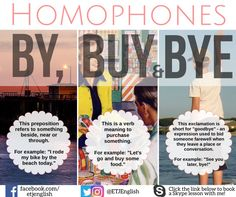 ‎'Homophones' are words which sound exactly the same but have different meanings and/or spellings! By, Buy & Bye