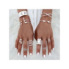 8d58e2a54fb Neworldline 6pcs Set Women Bohemian Vintage Silver Stack Rings Above  Knuckle Blue Rings Set-Silver