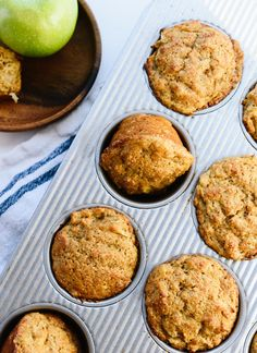 Best healthy apple muffins made with maple syrup and whole wheat flour! cookieandkate.com