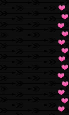 Black And Pink Border Hearts Wallpaper Background