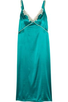 ELLE MACPHERSON Casablanca Lace Trimmed Stretch Silk Satin Chemise Turquoise $130 IN STORE OR FREE SHIPPING  (Compare other stores at $155.00)