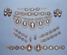 Parure with Cameo, Duvale Workshop (St. Petersburg, Russia): 1795, gold, silver, cut diamonds, papier-mache and glass, chased, polished and filigreed.